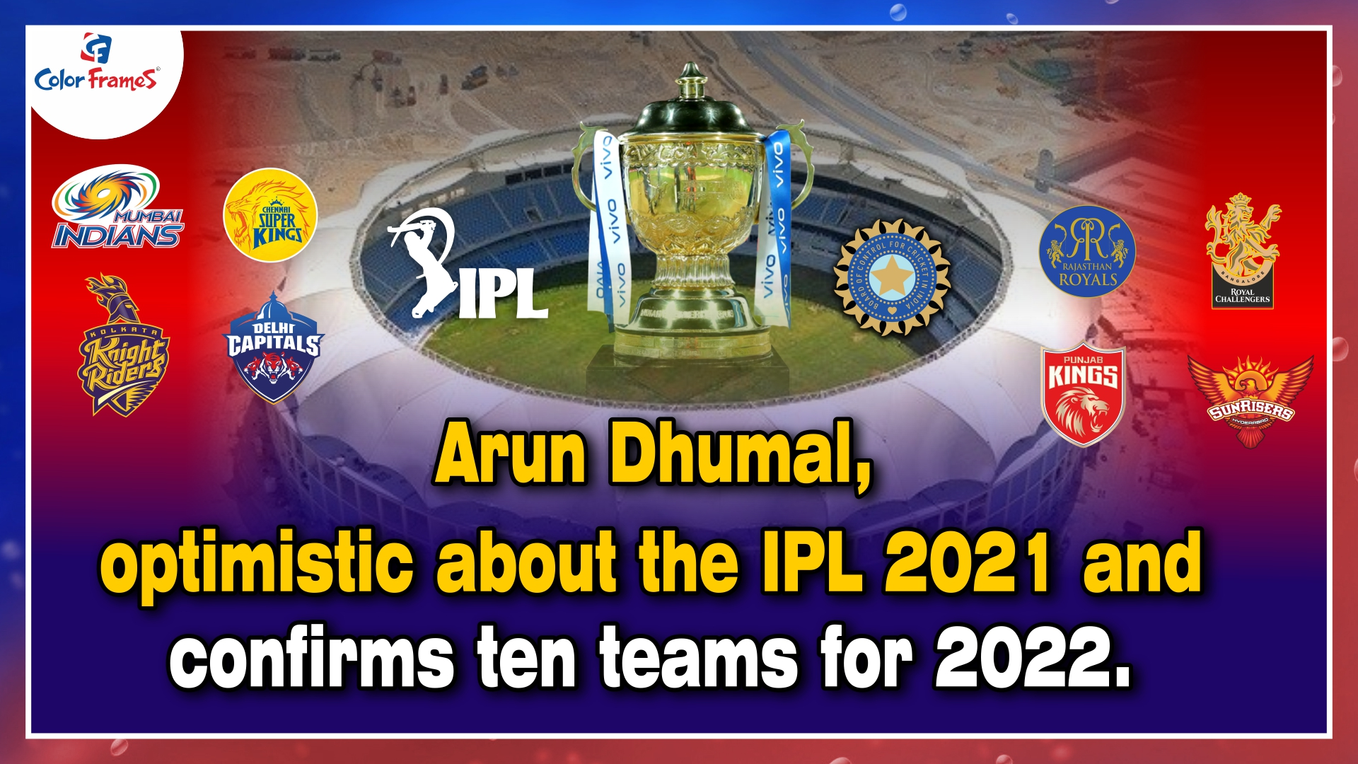 Arun Dhumal, the BCCI treasurer, is optimistic about the IPL 2021 season and has confirmed ten teams for the 2022 season.
