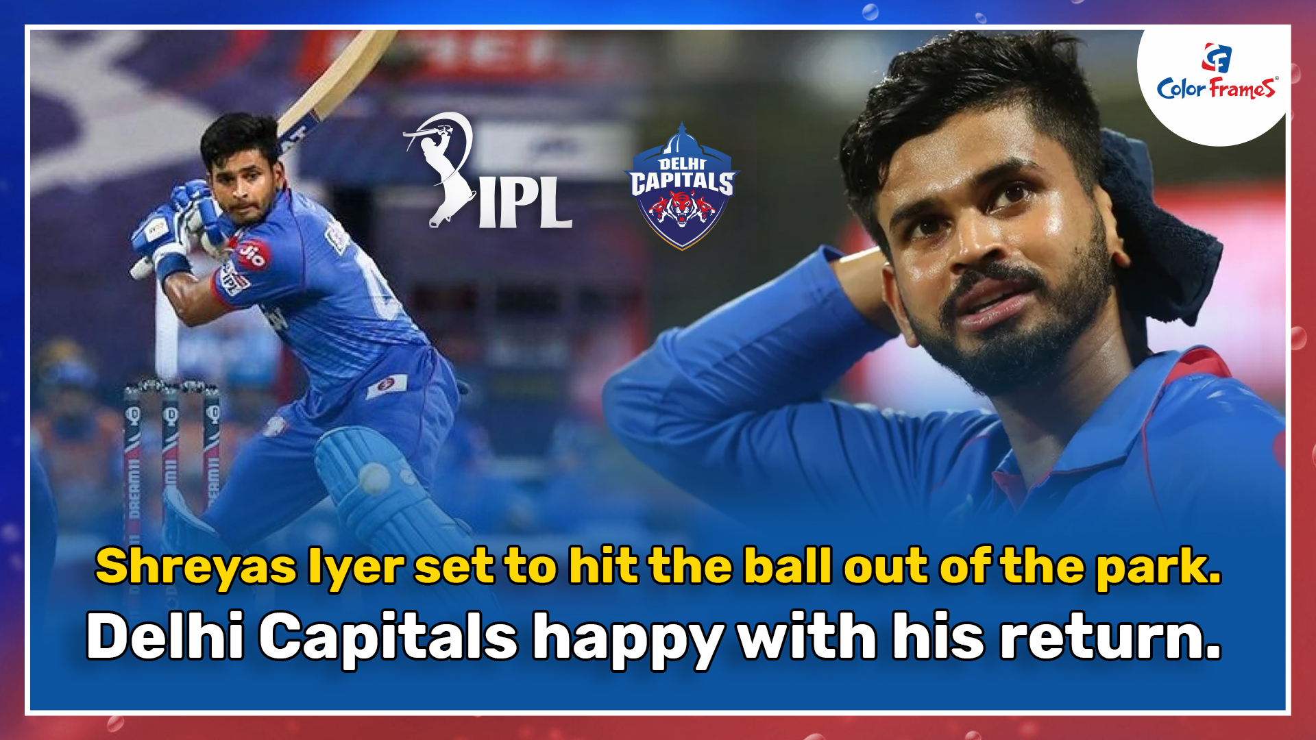 Shreyas Iyer set to hit the ball out of the park.  Delhi Capitals happy with his return.