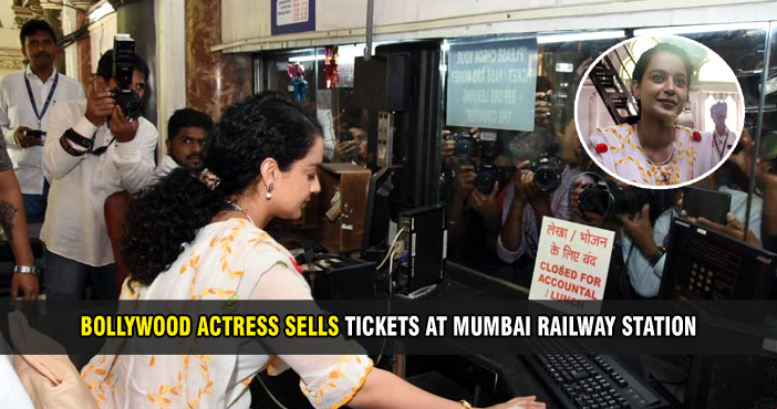 Bollywood actress sells tickets at Mumbai railway station